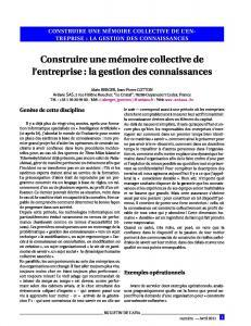 Construire une mémoire collective d´entreprise