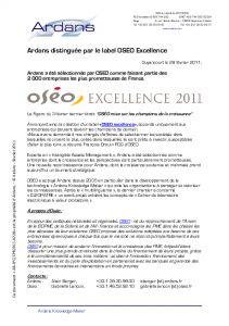 Label OSEO Excellence pour ARDANS