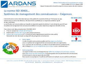 Norme ISO 30401 - Exigences des systèmes de management des connaissances