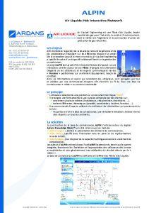 Projet ALPIN - Air Liquide
