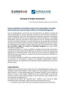 Communiqué de presse Ardans et Eurosae