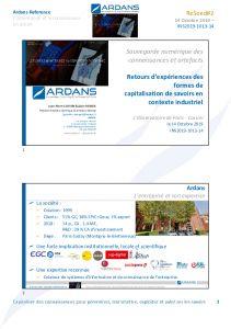 Conférence Ardans lors des journées d´études Reseed