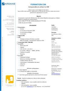 Formation IT Ardans : Formation CIM Common Information Model